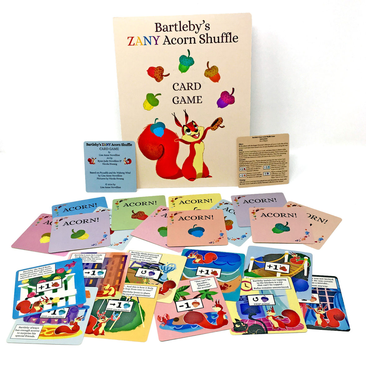 Bartleby's ZANY Acorn Shuffle Card Game based on Batleby the squirrel from Piccadilly and the Waltzing Wind by Lisa Anne Novelline; pictures by Nicola Hwang