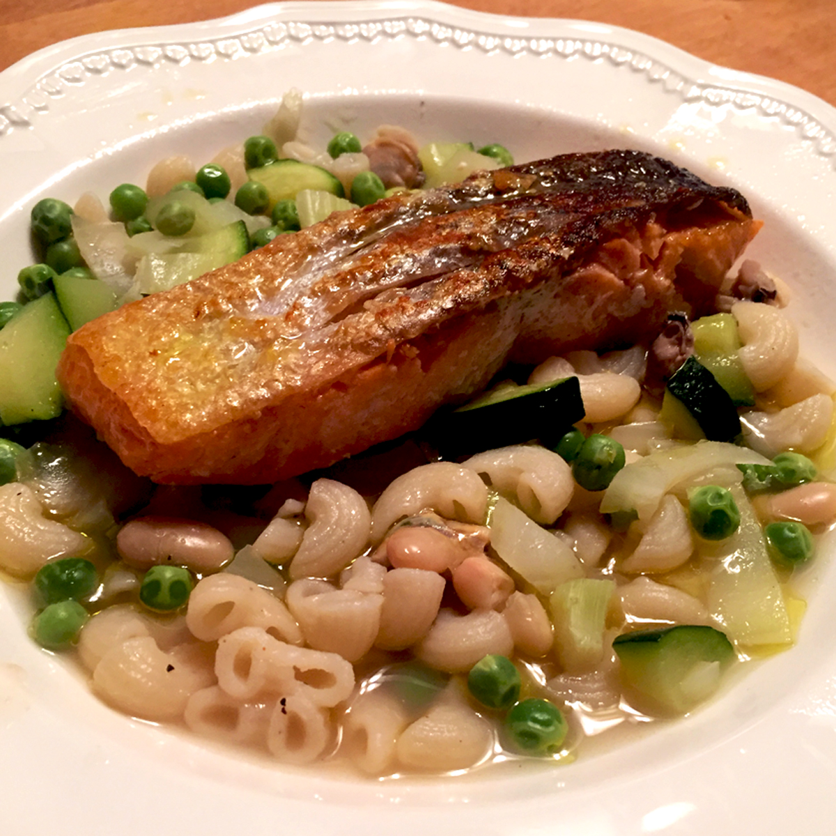 Our Finished Salmon With Shellfish Minestrone from Gordon Ramsay Masterclass
