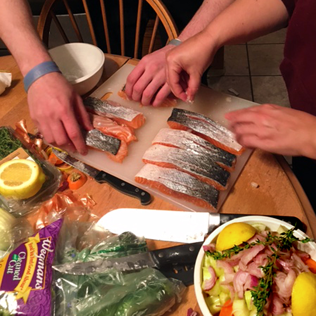 Scoring and Salting the Salmon from Gordon Ramsay Masterclass